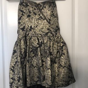 Holiday mini dress gold and grey/black
